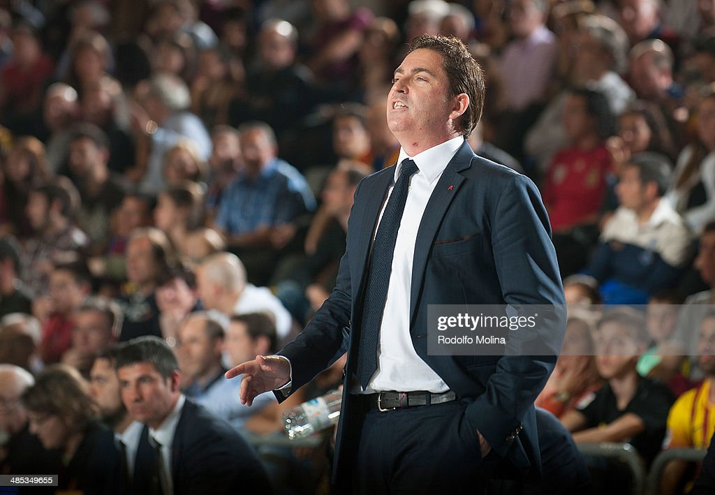 Head Coach of FC Barcelona Xavi Pascual gestures during the Turkish Airlines Euroleague Basketball Play Off Game 2 between FC Barcelona Regal v Galatasaray Liv Hospital Istanbul at Palau Blaugrana on April 17, 2014 in Barcelona, Spain.