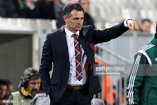 Head coach of FC Girondins de Bordeaux Willy Sagnol gestures during the Europa League game between FC Girondins de Bordeaux and FC Sion at Matmut...