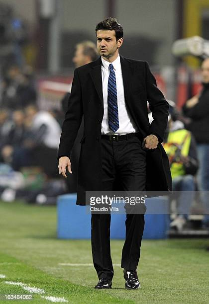 Head coach of FC Inter Milan Andrea Stramaccioni during the Serie A match between FC Internazionale Milano and Bologna FC at San Siro Stadium on...