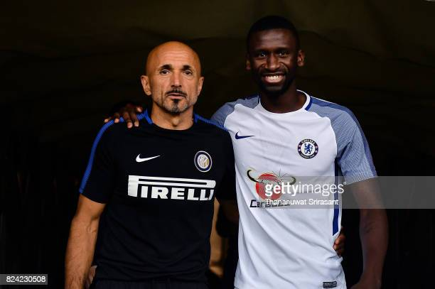 Head coach of FC Interernazionale Luciano Spalletti and Antonio Rudiger of Chelsea FC walks during the International Champions Cup match between FC...