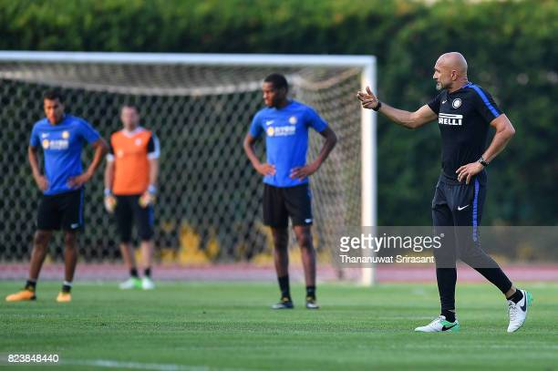 Head coach of FC Interernazionale Luciano Spalletti walks during an official ICC Singapore Training Session at Bishan Stadium on July 28 2017 in...