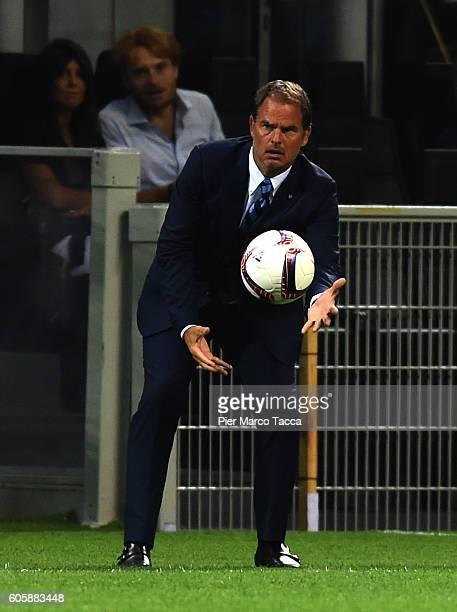 Head Coach of FC Internazionale Frank De Boer gestures during the UEFA Europa League match between FC Internazionale Milano and Hapoel BeerSheva FC...