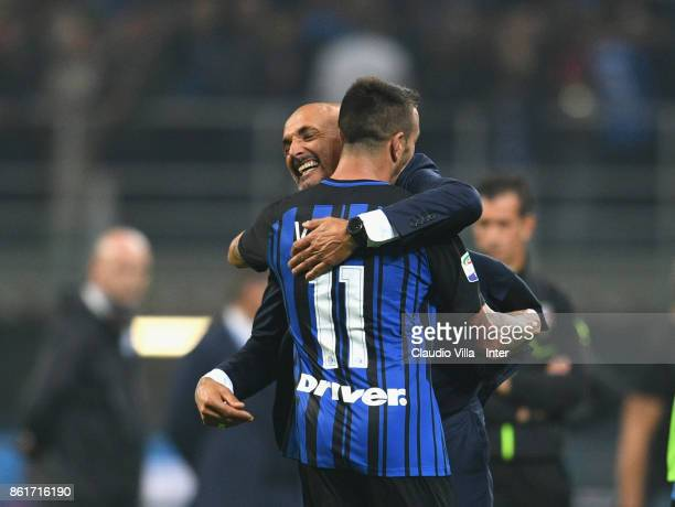 Head coach of FC Internazionale Luciano Spalletti celebrate the win with teammates at the end of the Serie A match between FC Internazionale and AC...