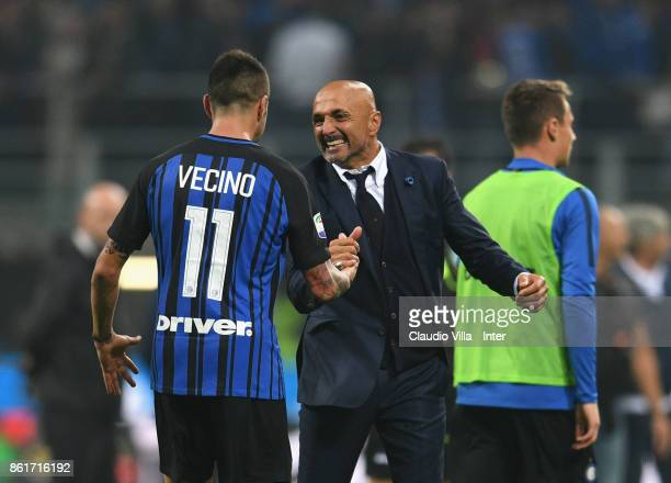 Head coach of FC Internazionale Luciano Spalletti celebrate the win with Matias Vecino at the end of the Serie A match between FC Internazionale and...