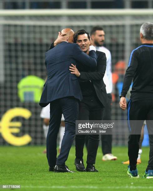Head coach of FC Internazionale Luciano Spalletti embrace coach of AC Milan Vincenzo Montella at the end of the Serie A match between FC...