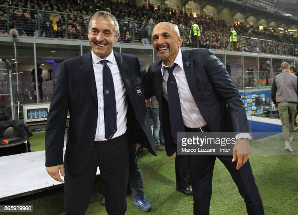 Head coach of FC Internazionale Luciano Spalletti poses for a photo with head coach of UC Sampdoria Marco Giampaolo before the Serie A match between...