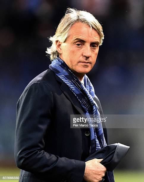 Head Coach of FC Internazionale Roberto Mancini looks during the Serie A match between Genoa CFC and FC Internazionale Milano at Stadio Luigi...