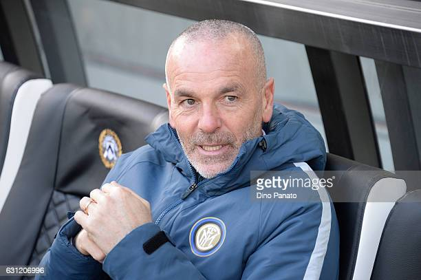 Head coach of FC Internazionale Stefano Pioli looks ion during the Serie A match between Udinese Calcio and FC Internazionale at Stadio Friuli on...