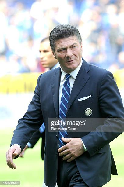 Head Coach of FC Internazionale Walter Mazzarri before the Serie A match UC Sampdoria and FC Internazionale Milano at Stadio Luigi Ferraris on April...