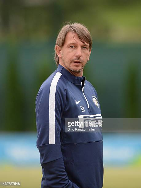 Head coach of FC Internazionale youth Stefano Vecchi looks on during an FC Internazionale youth team training session on July 26 2014 in Mezzano di...