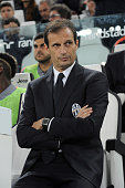Head Coach of FC Juventus Masimiliano Allegri attends the Serie A match between Juventus FC and AC Cesena at Juventus Arena on September 24 2014 in...