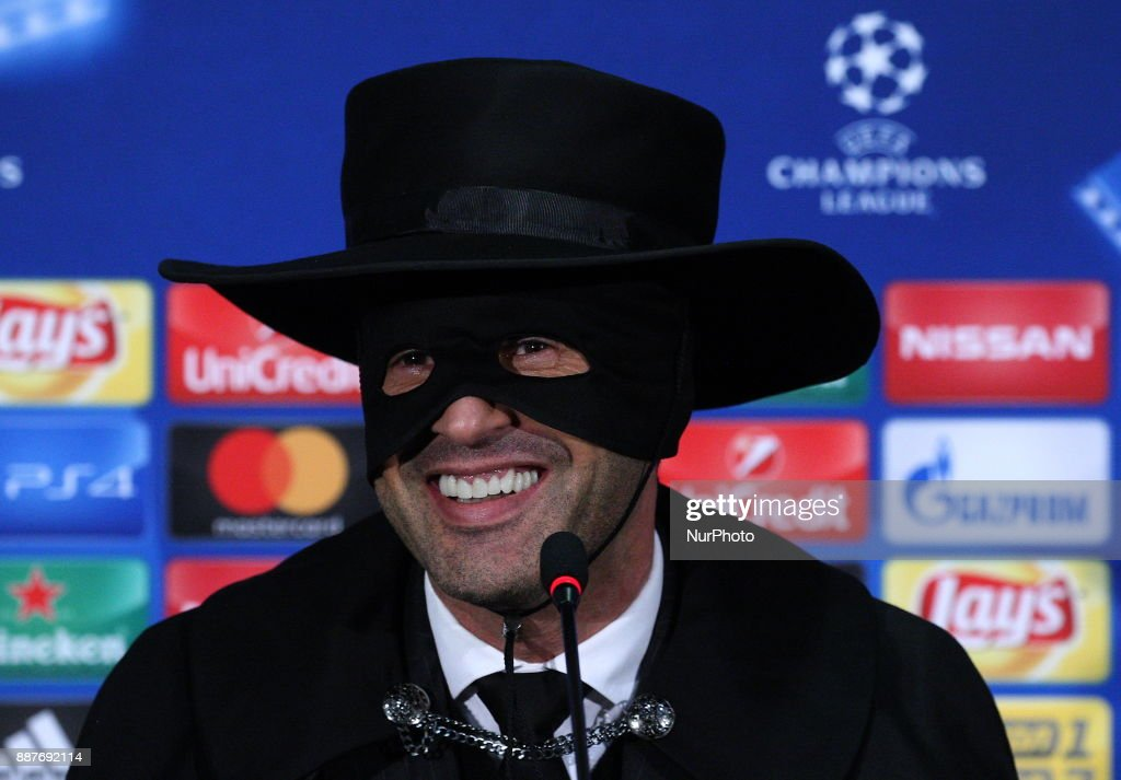Head coach of FC Shakhtar Paulo Fonseca, dressed as Zorro attends a press conference after victory for his team in the Champions League group F soccer match between FC Shakhtar and Manchester City at Metalist Stadium in Kharkov. Ukraine, Wednesday, December 6, 2017