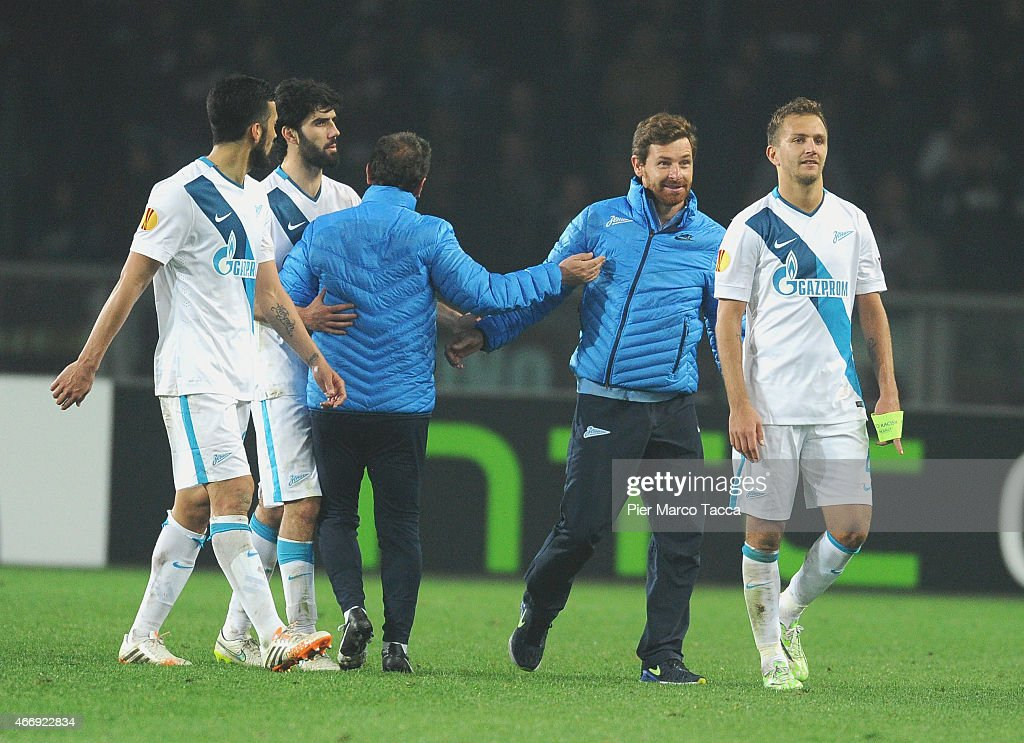 Head Coach of FC Zenit Andre VillasBoas celebrates the passage of the turn with his team player the UEFA Europa League Round of 16 match between...