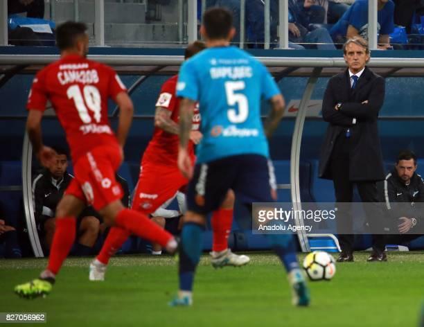 Head coach of FC Zenit SaintPetersburg Roberto Mancini looks on during the Russian Premiere League match between Zenit StPetersburg and FC Spartak...