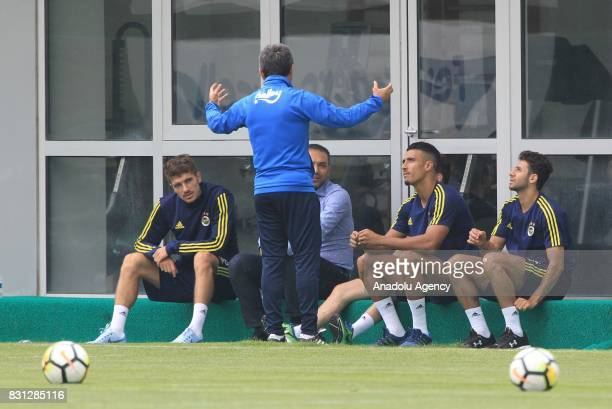 Head Coach of Fenerbahce Aykut Kocaman and Neustaedter Nabil Dirar and smail Köyba attend a training session ahead of the UEFA Europa League First...
