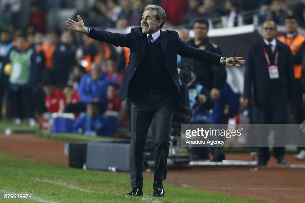 Head coach of Fenerbahce Aykut Kocaman gestures during the Turkish Super Lig match between Antalyaspor and Fenerbahce at Antalya Stadium in Antalya...