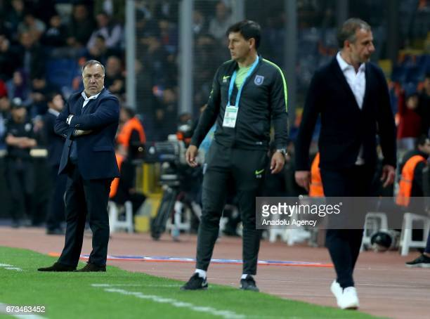 Head coach of Fenerbahce Dick Advocaat and Head Coach of Medipol Basaksehir Abdullah Avci are seen during the Ziraat Turkish Cup semi final soccer...