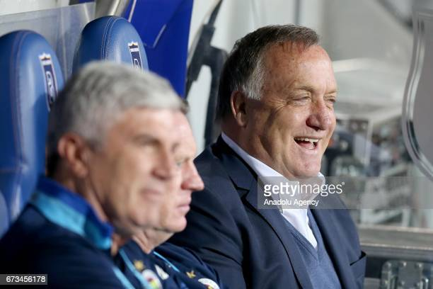 Head Coach of Fenerbahce Dick Advocaat chats with his assistants prior to the Ziraat Turkish Cup semi final soccer match between Medipol Basaksehir...