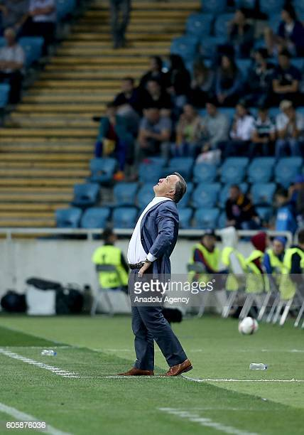Head coach of Fenerbahce Dick Advocaat gestures during the UEFA Europa League Group A match between FC Zorya Luhansk and Fenerbahce at Chornomorets...