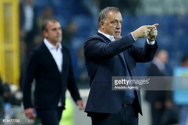 Head Coach of Fenerbahce Dick Advocaat gestures during the Ziraat Turkish Cup semi final soccer match between Medipol Basaksehir and Fenerbahce at...