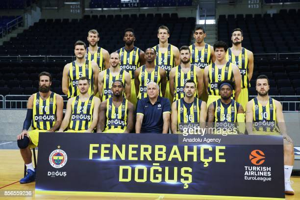 Head Coach of Fenerbahce Dogus Zeljko Obradovic and players of Fenerbahce Dogus pose for a photo during the Media Day Event at the Ulker Sports Arena...