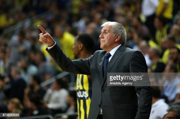 Head coach of Fenerbahce Dogus Zeljko Obradovic gestures during the Turkish Airlines Euroleague basketball match between Fenerbahce Dogus and...