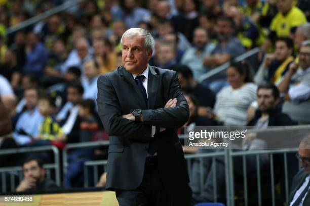 Head coach of Fenerbahce Dogus Zeljko Obradovic is seen during the Turkish Airlines Euroleague basketball match between Fenerbahce Dogus and...