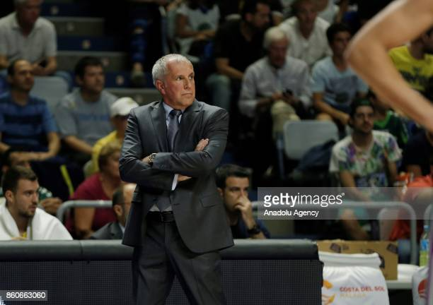 Head coach of Fenerbahce Dogus Zeljko Obradovic looks on during the Turkish Airlines Euroleague basketball match between Unicaja Malaga and...