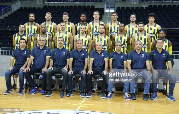 Head Coach of Fenerbahce Dogus Zeljko Obradovic players and officials of Fenerbahce Dogus pose for a photo during the Media Day Event at the Ulker...