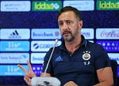 Head coach of Fenerbahce Vitor Pereira delivers a speech during a press conference prior to UEFA Champions League third preliminary lap match between...