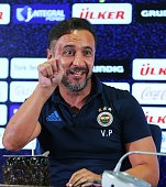 Head coach of Fenerbahce Vitor Pereira gestures during a press conference prior to UEFA Champions League third preliminary lap match between...