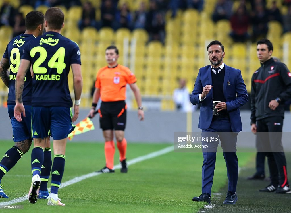 Head coach of Fenerbahce Vitor Pereira is seen during the during Ziraat Turkish Cup Semi Final second leg football match between Fenerbahce and Torku Konyaspor at Ulker Stadium in Istanbul, Turkey on May 5, 2016.