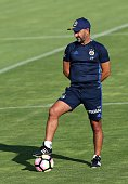Head coach of Fenerbahce Vitor Pereira leads a training session prior to UEFA Champions League third preliminary lap match between Fenerbahce and...