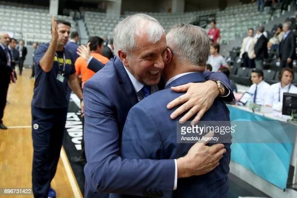Head Coach of Fenerbahce Zeljko Obradovic celebrates after winning Sompo Japan within Turkish Spor Toto Basketball League playoffs final's fourth leg...