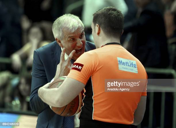 Head Coach of Fenerbahce Zeljko Obradovic objects to referee during the Turkish Spor Toto Basketball League playoffs final's first leg match between...