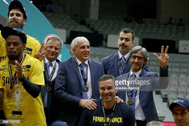 Head Coach of Fenerbahce Zeljko Obradovic pose with players as they celebrate their championship after winning Sompo Japan within Turkish Spor Toto...