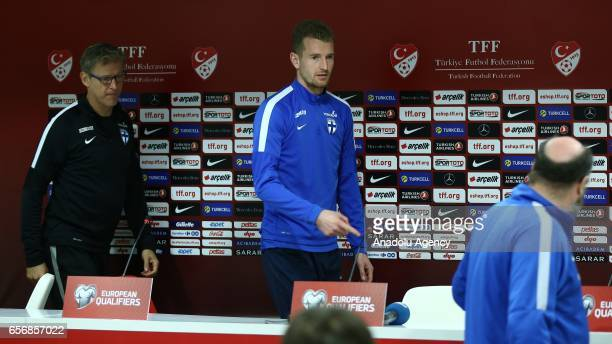 Head coach of Finland National Football Team Markku Kanerva and goalkeeper Lukas Hradecky attend a press conference ahead of the 2018 FIFA World Cup...