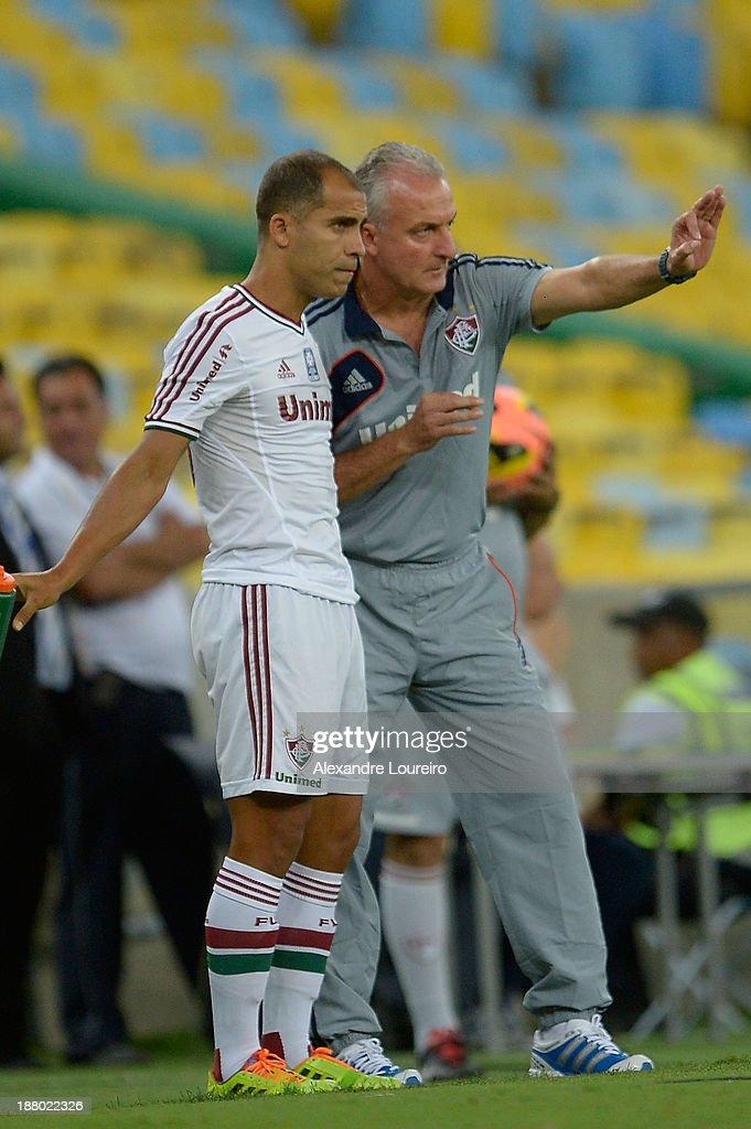 Head Coach of Fluminense Dorivall Junior talks with Felipe during a match between Fluminense and Nautico for Brazilian Serie A 2013 at Maracana on...