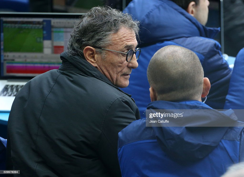 Head coach of France <a gi-track='captionPersonalityLinkClicked' href=/galleries/search?phrase=Guy+Noves&family=editorial&specificpeople=576406 ng-click='$event.stopPropagation()'>Guy Noves</a> talks to assistant coach of France <a gi-track='captionPersonalityLinkClicked' href=/galleries/search?phrase=Yannick+Bru&family=editorial&specificpeople=609616 ng-click='$event.stopPropagation()'>Yannick Bru</a> during the RBS 6 Nations match between France and Ireland at Stade de France on February 13, 2016 in Saint-Denis nearby Paris, France.