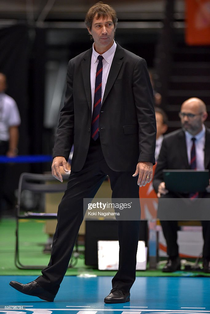 Head coach of France Laurent Tillie looks on during the Men's World Olympic Qualification game between China and France at Tokyo Metropolitan Gymnasium on May 28, 2016 in Tokyo, Japan.