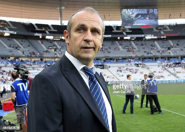 Head coach of France Philippe SaintAndre looks on before the international friendly match in preparation of 2015 Rugby World Cup between France and...