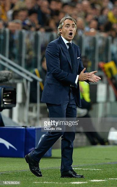 Head coach of Galatasaray AS Roberto Mancini reacts during UEFA Champions League Group B match between Juventus and Galatasaray AS at Juventus Arena...
