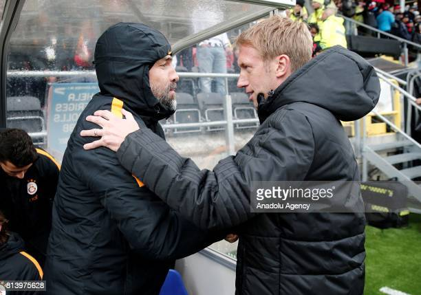 Head Coach of Galatasaray Igor Tudor and Head Coach of Ostersund Graham Potter shake hands before the match during the UEFA Europa League 2nd...