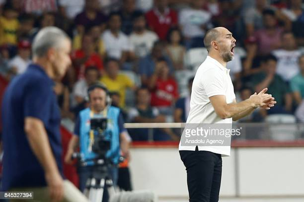 Head coach of Galatasaray Igor Tudor gives tactics to his players during the 4th week of the Turkish Super Lig match between Antalyaspor and...