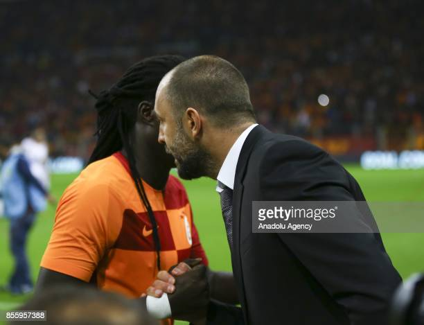 Head coach of Galatasaray Igor Tudor talks with his player Gomis during the Turkish Super Lig soccer match between Galatasaray and Kardemir...