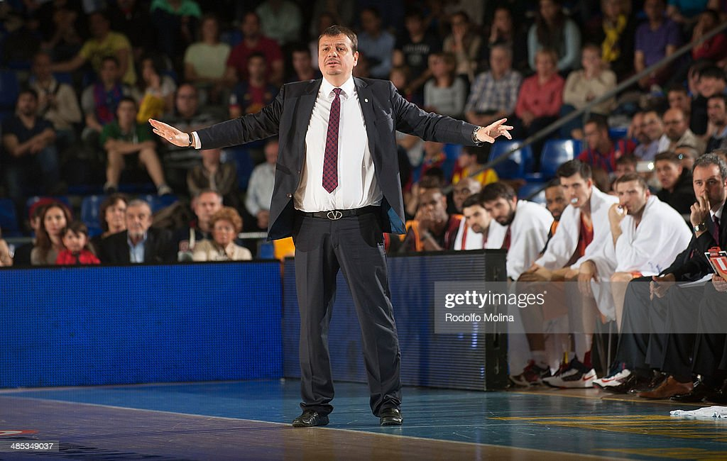 Head Coach of Galatasaray Liv Hospital Istanbul Ergin Ataman is seen during the Turkish Airlines Euroleague Basketball Play Off Game 2 between FC Barcelona Regal v Galatasaray Liv Hospital Istanbul at Palau Blaugrana on April 17, 2014 in Barcelona, Spain.