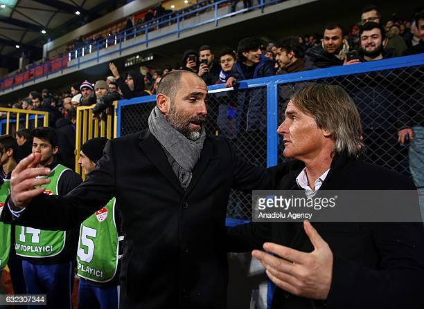 Head coach of Galatasaray Olde Riekerink and Head coach of Kardemir Karabukspor Igor Tudor are seen prior to the Turkish Spor Toto Super Lig football...