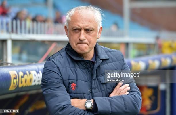 Head coach of Genoa Andrea Mandorlini looks on during the Serie A match between Genoa CFC and Atalanta BC at Stadio Luigi Ferraris on April 2 2017 in...