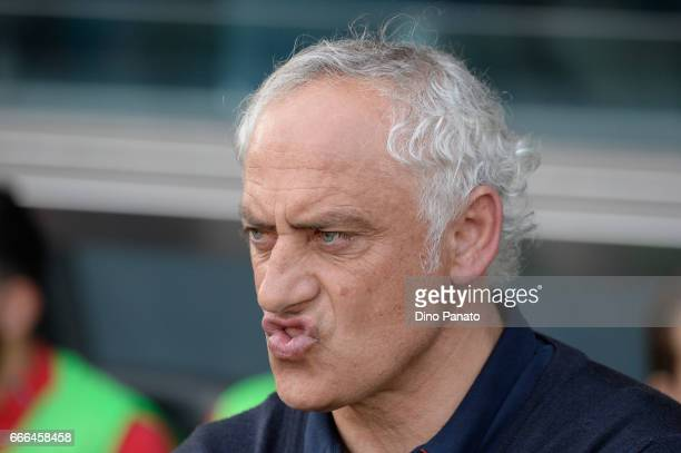 Head coach of Genoa Andrea Mandorlini looks on during the Serie A match between Udinese Calcio and Genoa CFC at Stadio Friuli on April 9 2017 in...