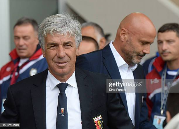 Head coach of Genoa Gian Piero Gasperini and Head coach of Udinese Stefano Colantuono during the Serie A match between Udinese Calcio and Genoa CFC...